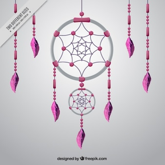 Dreamcatcher rose sur fond gris