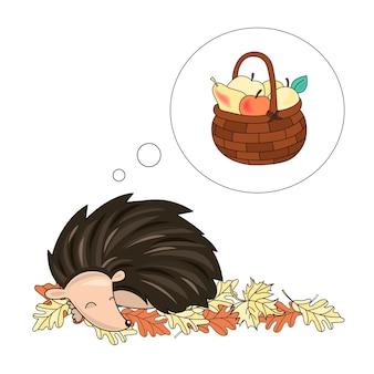 Dreaming hedgehog animal vector illustration set