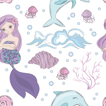 Dreaming mermaid ocean seamless pattern