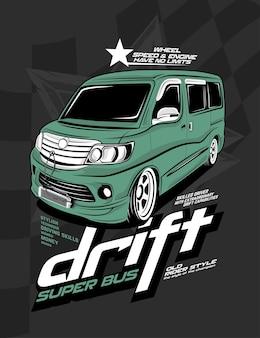 Drift super bus, voiture de dérive personnalisée
