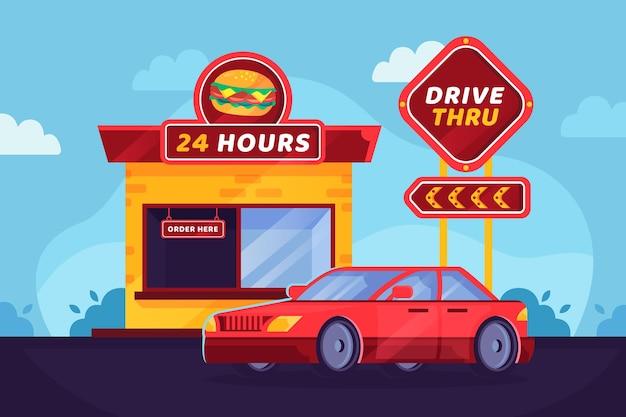 Drive thru sign avec voiture rouge