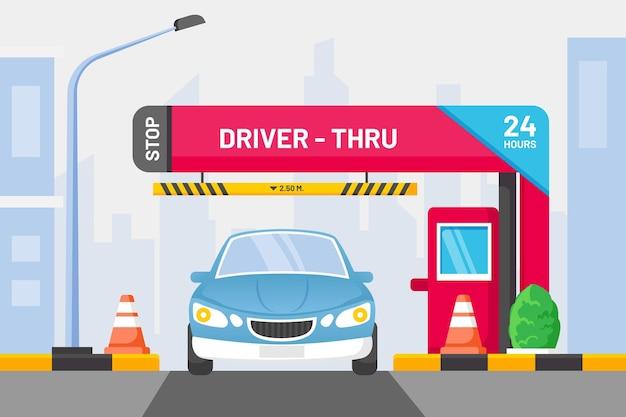 Drive thru sign avec voiture