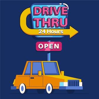 Drive à travers non-stop ouvert