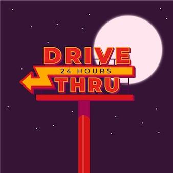 Drive à travers signe avec lune