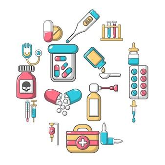 Drogue de médecine jeu d'icônes, style cartoon