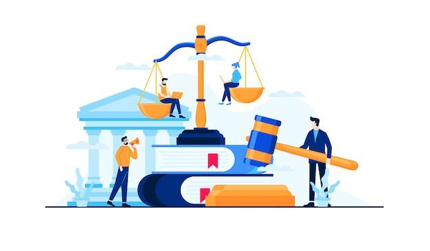 Droit et illustration plat juridique