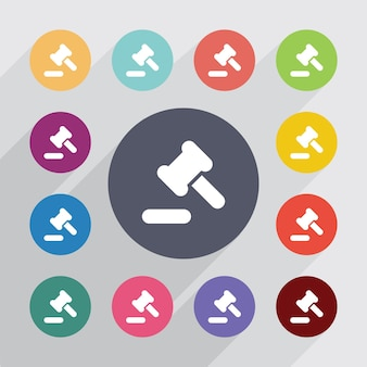 Droit judiciaire, jeu d'icônes plat. boutons colorés ronds. vecteur