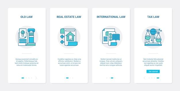 Droit juridique, immobilier, droit international ux, ensemble d'écran de page d'application mobile d'intégration de l'interface utilisateur