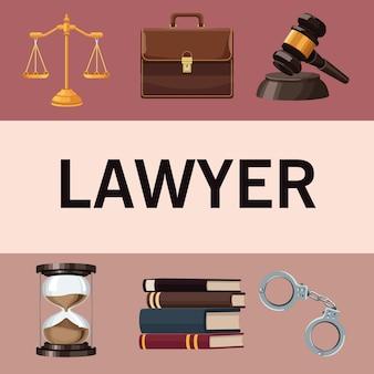 Droit justice six icônes