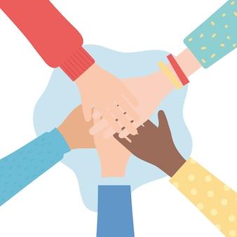 Droits de l'homme, ensemble mains diversité personnes vector illustration