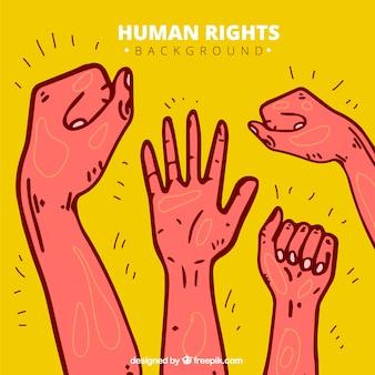 Droits de l'homme jour, fond dessiné à la main