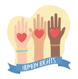 Droits de l'homme, mains levées diversité coeurs bannière illustration vectorielle