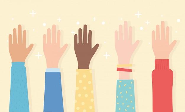 Droits de l'homme, mains levées illustration vectorielle ethnique multiculturelle