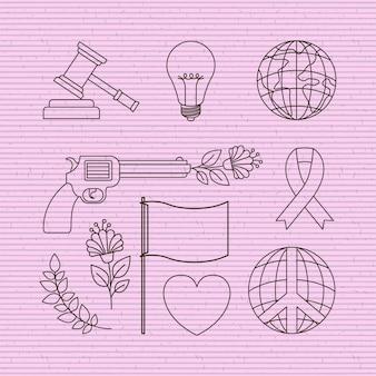 Les droits de l'homme et la paix mis des icônes