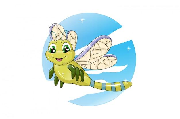 Drôle bébé dragon mouche dessin animé mignon contour dessin à la couleur