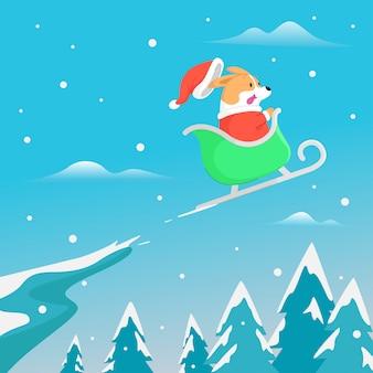 Drôle corgi portant le costume de santa volant avec luge