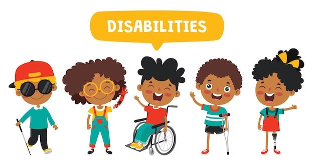 Drôle de dessin animé enfant handicapé posant