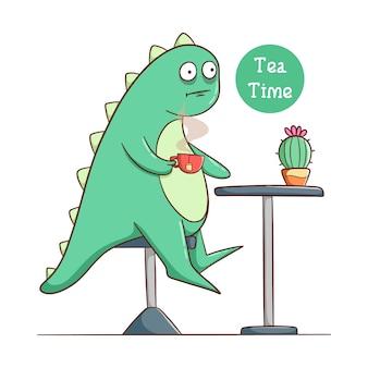 Drôle de dinosaure boire un verre de thé et s'asseoir sur la chaise avec une plante de cactus