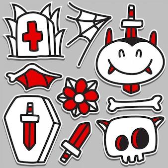 Drôle Dracula Tattoo Doodle Design Vecteur Premium