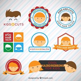 Drôle enfant logos de coiffure