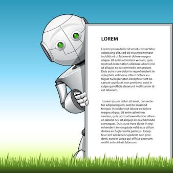 Drôle enfant robot montrant le panneau publicitaire