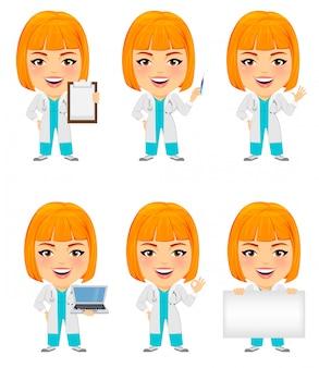 Drôle femme médecin avec grosse tête