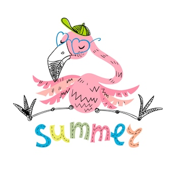 Drôle flamingo avec des lunettes et une casquette
