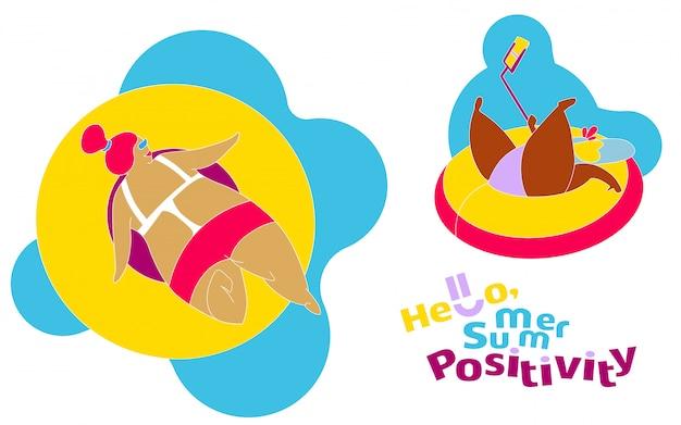 Drôle happy fat girl sur la plage d'été