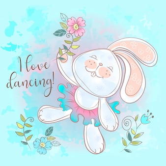 Drôle lapin mignon dansant. j'aime danser.