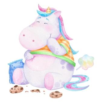 Drôle de licorne épaisse mange des cookies illustration aquarelle