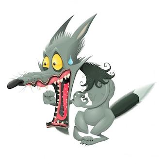 Drôle loup vector cartoon caractère isolé