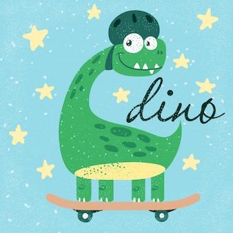 Drôle mignon dino, dinosaure.