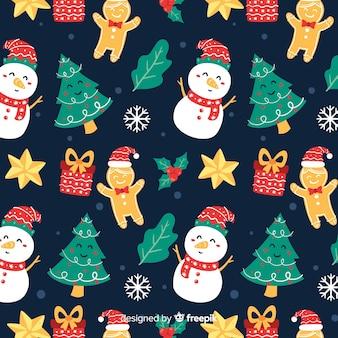 Drôle motif de noël avec des bonhommes de neige et des cadeaux