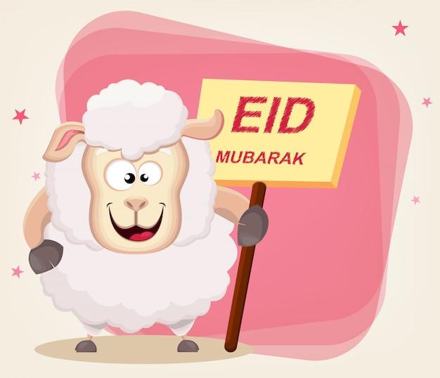 Drôle de mouton tenant une pancarte