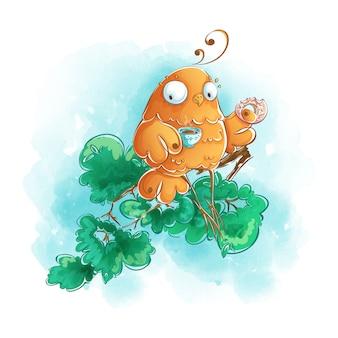 Drôle d'oiseau orange boit du café avec un beignet sur une branche d'arbre. dessin à la main, aquarelle