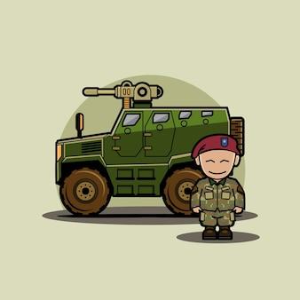 Drôle de personnage mignon de véhicule militaire chibi humvee avec soldat