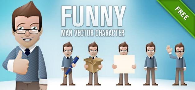 Drôle personnage vecteur homme