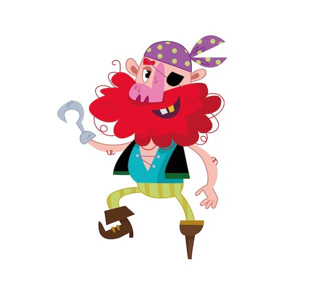 Un drôle de pirate avec une jambe de bois, un crochet au lieu d'un bras et un cache-œil au beurre noir