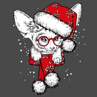 Un drôle de renard dans un chapeau et une écharpe du nouvel an