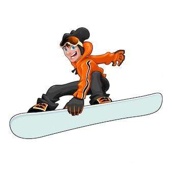 Drôle snowboarder vector cartoon caractère isolé dans le fichier eps le snowboard est facilement gérable pour ajouter des graphiques ou des textures
