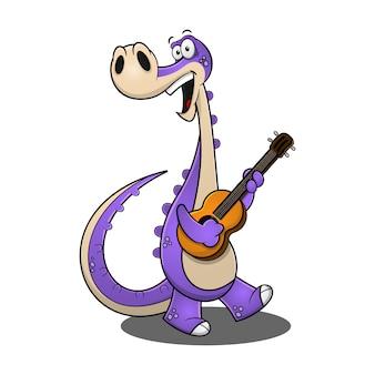 Drôles de dinosaures jouez un dessin animé de guitares classiques.