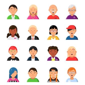 Drôles de personnages masculins et féminins. avatars web