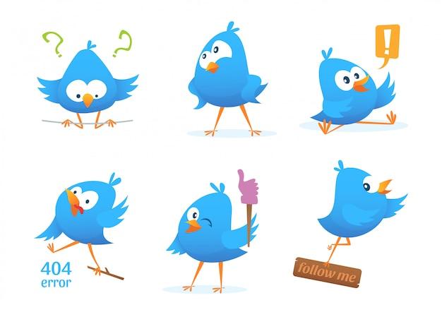 Drôles de personnages d'oiseaux bleus en action pose. action oiseau et animal drôle.