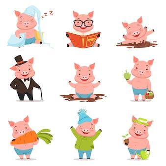 Drôles de petits cochons dans différentes situations définies.