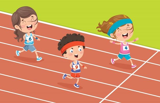Drôles de petits enfants courir à l'extérieur
