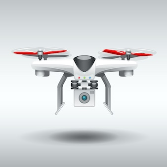 Drone blanc quadrocopter.