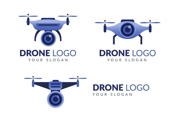 Drone Dégradé Avec Modèle De Logo De Caméra Avec Vecteur Premium