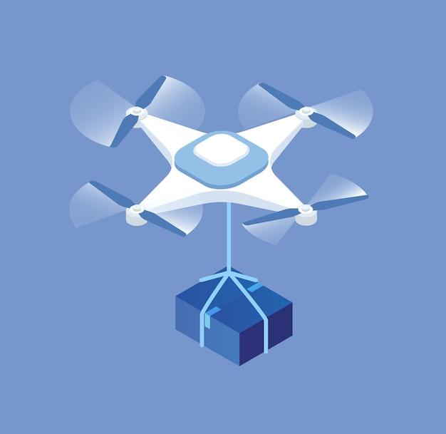 Drone de dessin animé avec illustration graphique de vecteur de boîte de paquet. appareil électronique moderne de service de livraison isolé. gadget volant avec hélice pour un transport rapide des marchandises. la technologie du courrier postal.