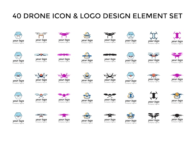 Drone icon logo design set