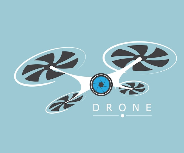 Drone avec illustration vectorielle de caméra logo